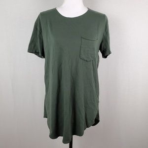 3 Feathers Green Short Sleeve Chest Pocket Top MD